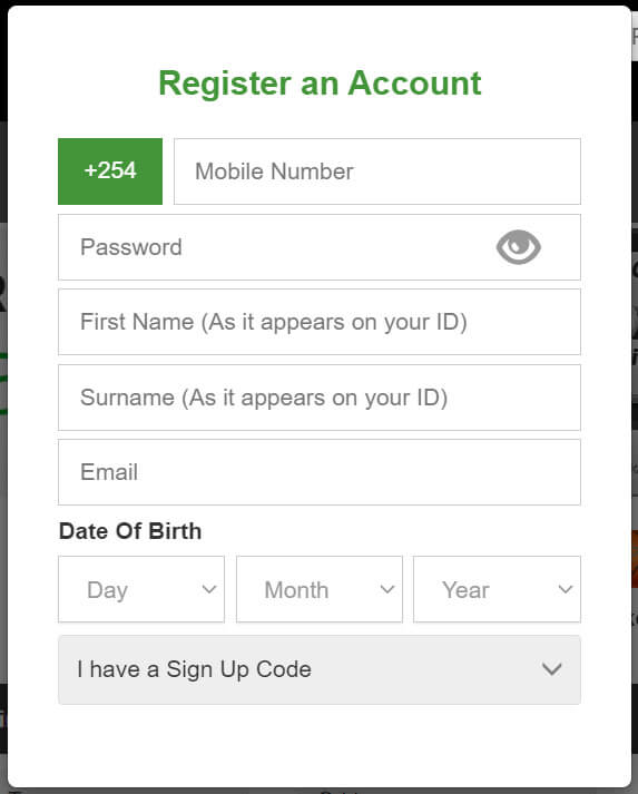 Sign Up Code